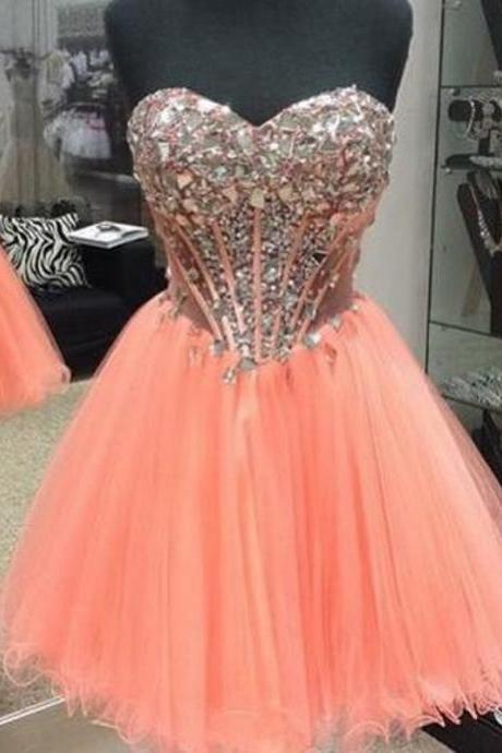 2017 Short Coral Prom Dress, Vintage Beaded Prom Dress, Sweetheart Backless Tulle Party Dress, Sexy Short Cocktail Dresses 2017, Vestidos De Cocktail Gown, Short Coral Homecoming Party Dress