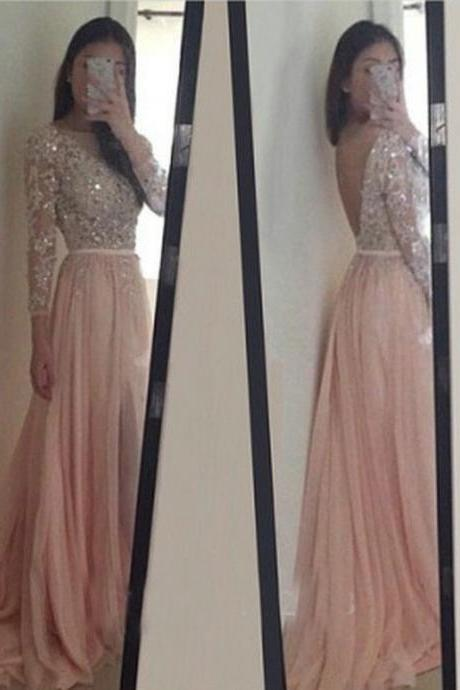 Long Sleeve Prom Dress, Sexy Backless Long Pink Party Dress, 2017 Vintage Prom Dress, Shiny Beaded Sequins Prom Dress, A Line Evening Dress, Formal Pink Gowns Floor Length , Long Prom Dress With Waist Sash