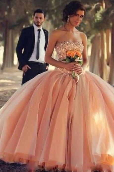 Luxury Beaded Champagne 16 Year Prom Dress Puffy , Stunning Beaded Party Dresses, Sexy Strapless Lace Up Back Quinceanera Dress For 15 Year, 2017 Cheap Quinceanera Dresses Plus Size, Formal Debutante Party Gowns Floor Length