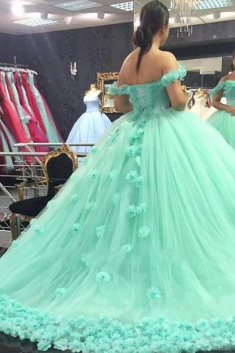Princess Mint Green Quinceanera Dresses For 16 Year, Sexy Off The Shoulder Wedding Dress Ball Gowns, Cheap 15 Year Mint Green Prom Dress, Stunning Mint Green Party Dresses With Long Train, Princess Ball Gown Quinceanera Dress Lace up Back 2017