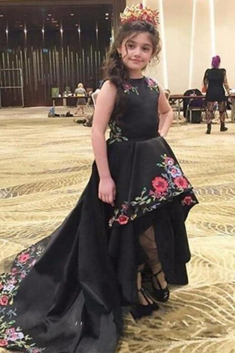 Little Black Flower Girls Dress 2017, High Low Black Satin Girls Pageant Dress Jewel Neck, Floor Length Junior Girls Party Dress For Wedding, Cheap Bridesmaid Dress For Little Girls, 2017 Cheap Black Wedding Party Dress With Embroidery