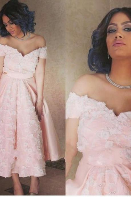 Arabic Pink Lace Prom Dress, Tea Length A Line Prom Dress, Sexy Off The Shoulder Prom Dress, Sweetheart Backless Party Dress,