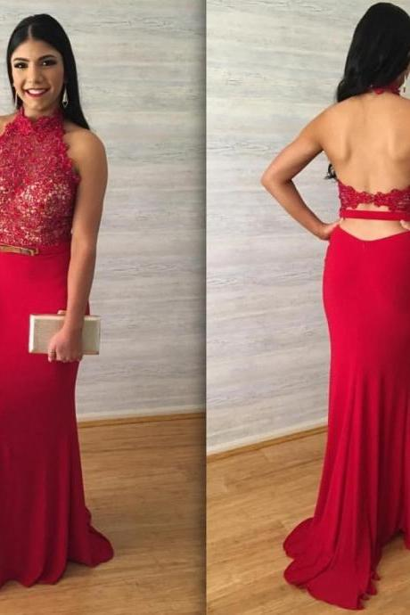 2017 Red Lace Prom Dress, Halter Prom Dress, Sexy Backless Long Mermaid Prom Dress, 2017 Sleeveless Red Party Dress, Formal Red Party Dress With Belt Sash,Floor Length Prom Dress, 2017 Prom Dress, Long Prom Dresses Floor Length, 2017 Vestidos De Festa, Vestidos Longo 2017