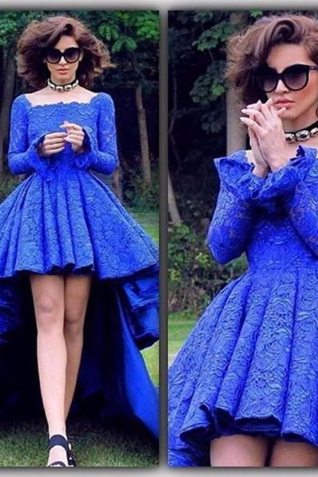 High Low Royal Bue Lace Prom Dress Abendkleider Square Neck Court Train Long Sleeve Evening Dress Formal Party Dress China