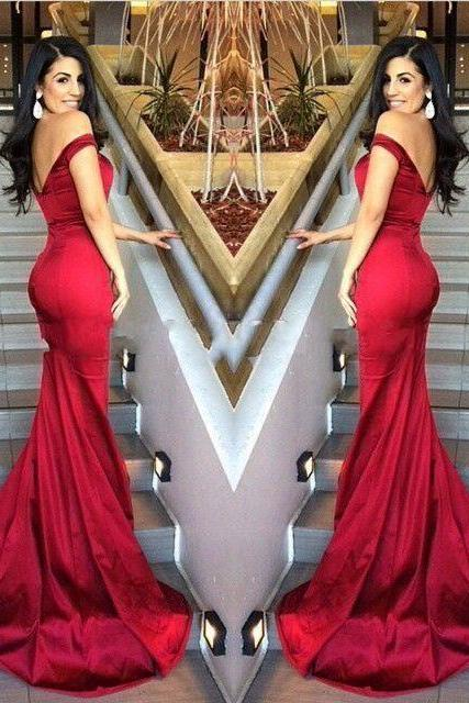 2020 Simple Style Red Satin Prom Dress Sexy Off The Shoulder Women's Party Dress Long Mermaid Bridesmaid Gowns