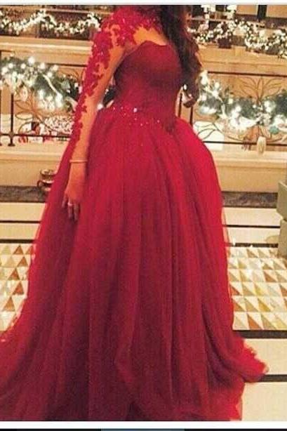 High Neck Dark Red Lace Appliques Long Sleeve Prom Dresses Sexy See Through Formal Party Dress Plus Size 2017 Vestidos