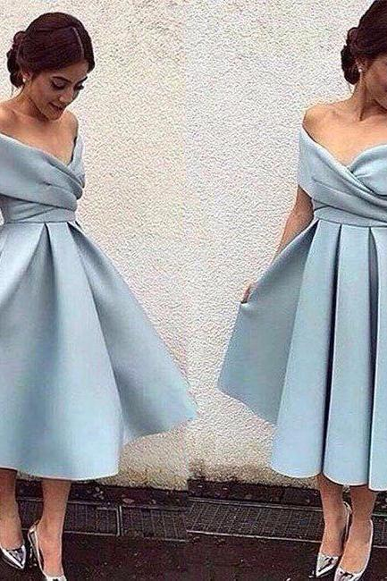 Off The Shoulder Light Blue Prom Dresses 2017 Sexy V Neck Tea Length Elegant Party Dress A Line Satin Prom Gowns