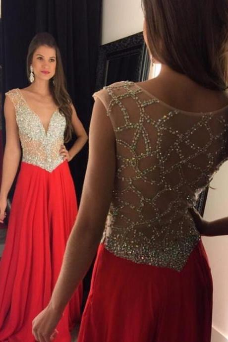 Cap Sleeve Red Prom Dresses Long 2017 Sexy V Neck A Line Chiffon Shiny Beaded Top Pageant Runway Dress For Party Gowns