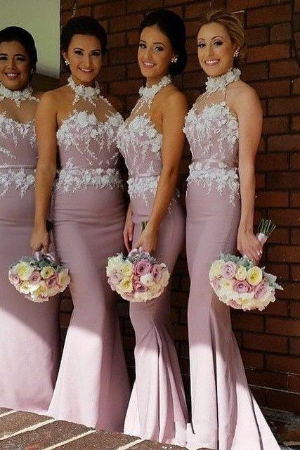 Sexy Bridesmaid Dresses Long Wedding Guest Dress 2017 Top Quality High Neck Appliqued Plus Size Mermaid wedding Dresses Party Dresses