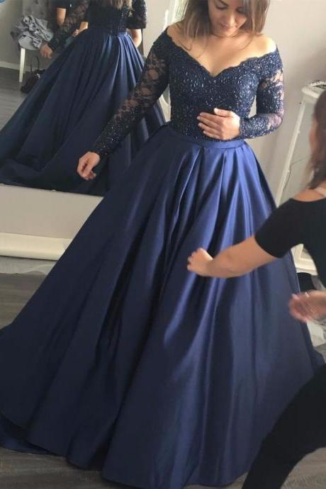 2017 Navy Blue Prom Dress Long Sleeve Sexy V Neck Off The Shoulder Satin Party Dress Sweep Train Lace Appliques Beaded Formal Evening Dress