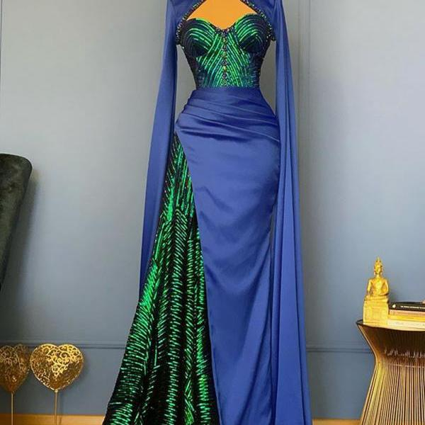 Two Pieces Long Blue Sequins Prom Dress with Detachable Cape Hollow Out Sexy Women Formal Vintage Evening Dresses