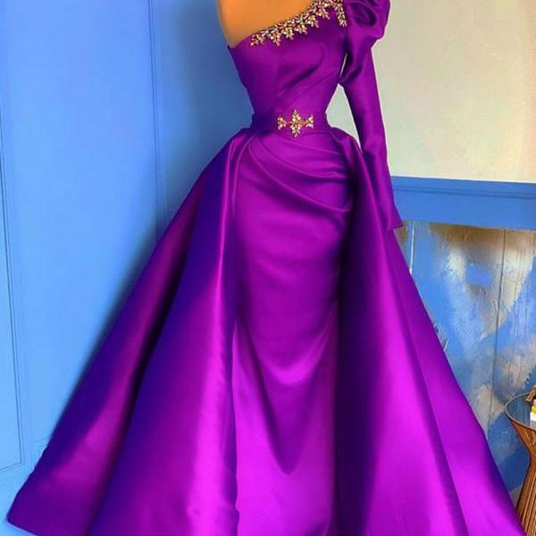 Sexy Long Purple Prom Dresses One Shoulder Ruffles Satin Crystals Beaded Full Sleeve Vintage Formal Party Dress