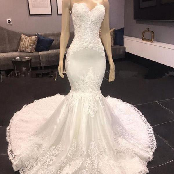 Vingtage White Lace Appliques Mermaid Wedding Dresses with Court Train Sexy Sweetheart Backless Bridal Gowns Plus Size