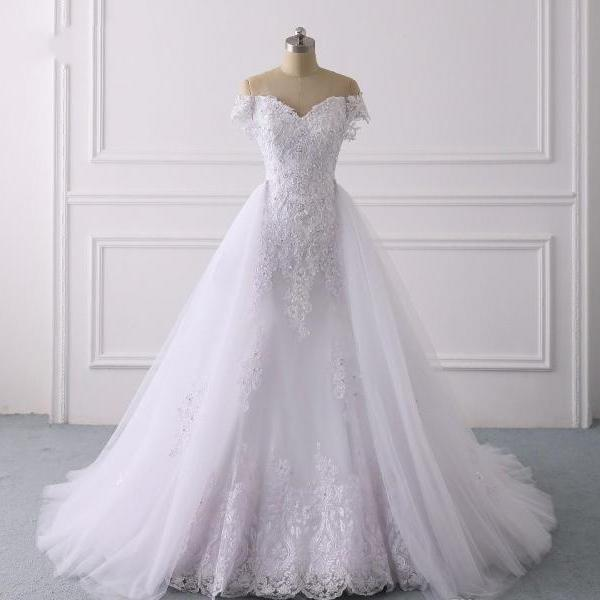 Gorgeous Detachable Train Wedding Dresses Mermaid Off Shoulder Lace Applique Beaded Sequins Pearls Bridal Gowns Wedding Dress