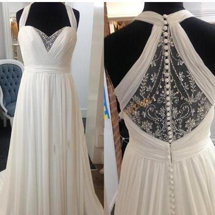 Luxury Beaded Sheer Back Wedding Dresses Long Halter Chiffon Empire Beach Ruched Sweetheart Sweep Train Bridal Dress Gowns