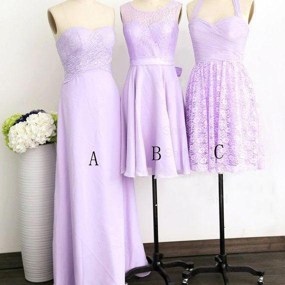 Elegant Lilac Lace Bridesmaid Dress for Wedding Party Chiffon Plus Size