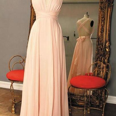 Long Pink Chiffon Bridesmaid Dress Plus Size A Line Sexy V Neck Hollow Out Back