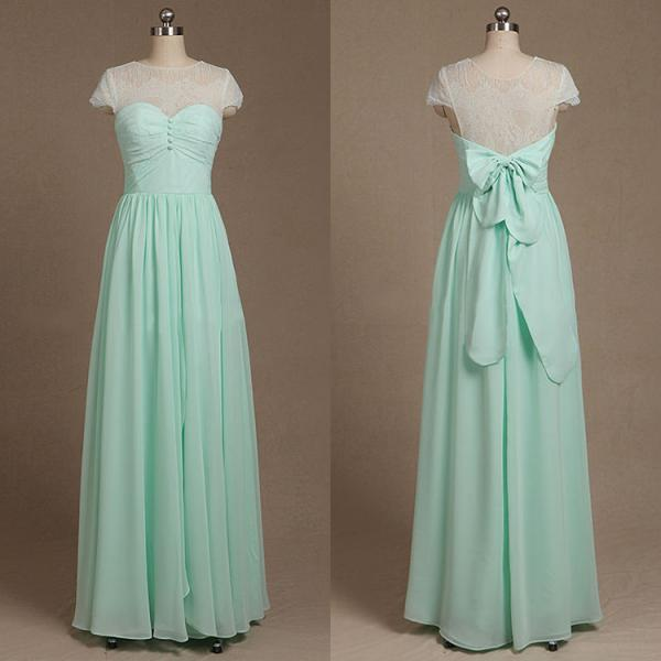 White Lace Mint Green Chiffon Long Bridesmaid Dress Bow Knot Illusion Back Formal Wedding Party Dresses