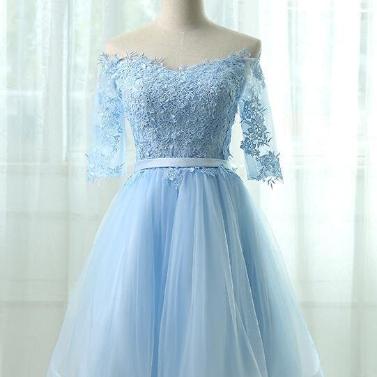 Off the Shoulder Short Sky Blue Party Dress for Women A Line Corset Back Tulle
