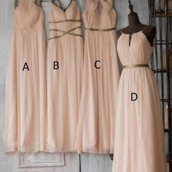 Nude Pink Bridesmaid Dress Long Chiffon Formal Women Wedding Party Dresses Plus Size
