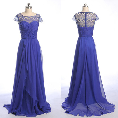 Elegant Royal Blue Bridesmaid Dress Long Chiffon Lace Wedding Party Dresses Plus Size