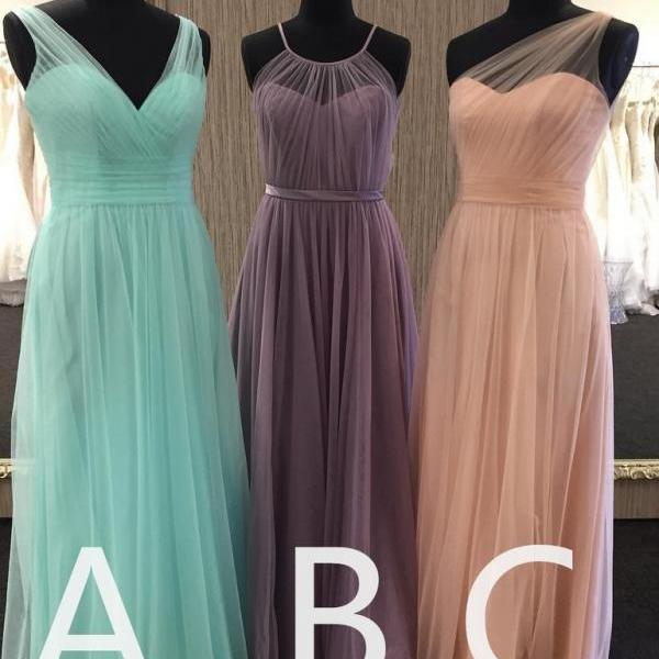 Long Blue/Pink Bridesmaid Dress for Wedding Party Gowns A Line Floor Length Sexy Illusion Back