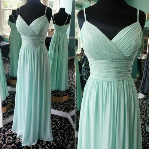 Long Mint Green Chiffon Bridesmaid Dress Plus Size Sexy Spaghetti Strap A Line Formal Wedding Party Dresses