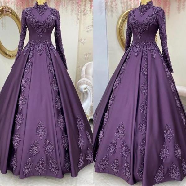 Dark Purple Lace Prom Evening Dress Long Sleeve High Neck A Line Appliques Beaded Party Dresses
