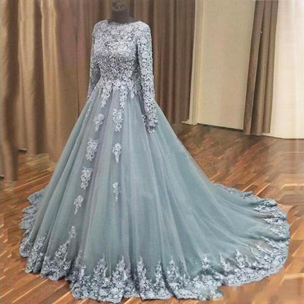 Long Sleeve Formal Lace Evening Dress with Full Sleeve A Line Women Prom Dresses Plus Size