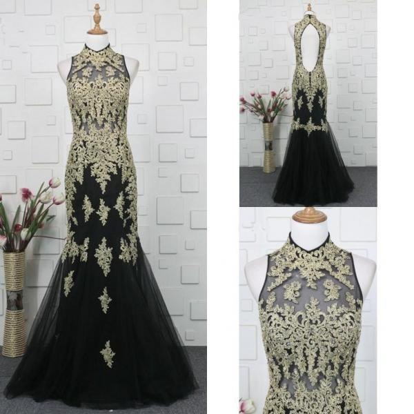 Sexy Open Back Long Black Prom Dress with Champagne Lace Sheer Neckline Women Formal Party Dresses