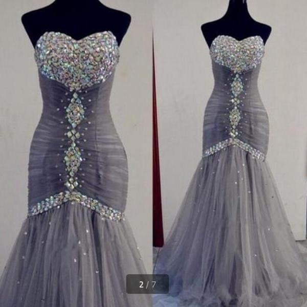 Sexy Sweetheart Light Grey Prom Dress Long Tulle Luxury Crystal Women Mermaid Party Dress Lace-uo Back Plus Size