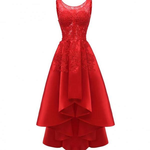 High Low Red Lace Party Dress for Women A Line Satin Plus Size Prom Dresses