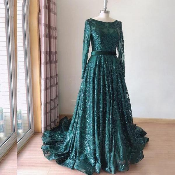 Vintage Emerald Green Seuqins Prom Dress long Sleeve Sweep Train Sexy Sheer Lace Women Formal Evening Dresses