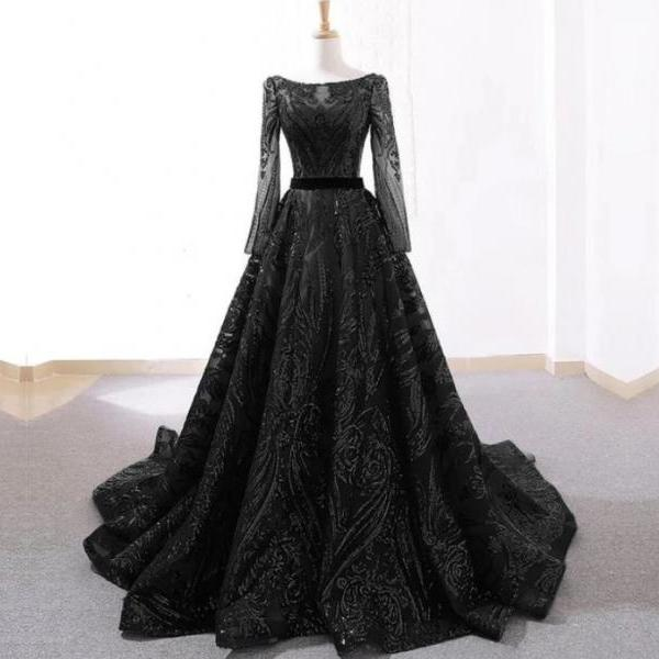 Vintage Black Seuqins Prom Dress long Sleeve Sweep Train Sexy Sheer Lace Women Formal Evening Dresses
