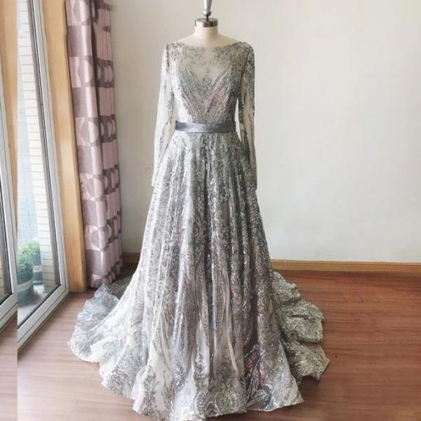 Fashion Silver Sequins Sheer Prom Dress long Sleeve A Line Sweep Train Formal Women Evening Dresses