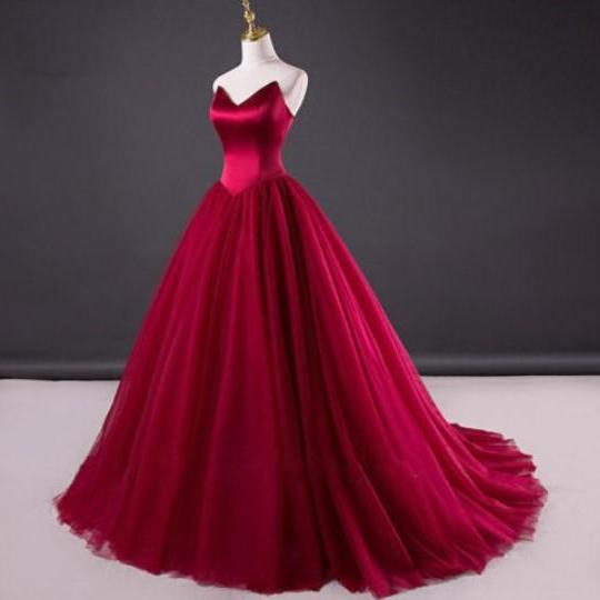 Elegant Fuchsia Women Long Prom Dress Lace-up Back Sweep Train Formal Party Dresses Plus Size