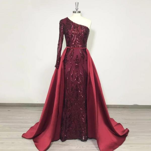Sexy One Shoulder Long Burgundy Prom Dress Full Sleeve Formal Women Evening Dresses Plus Size Detachable Skirt