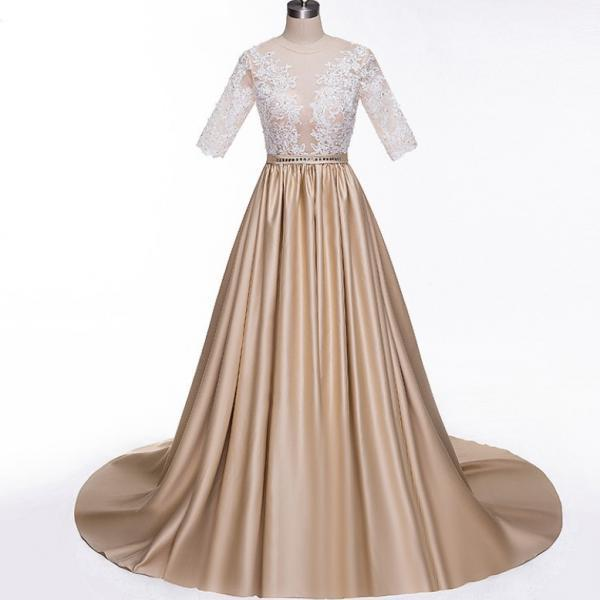 Sexy Sheer Lace Champagne Prom Dresses for Women with Half Skeeve A Line Formal Women Party Dress Button Back