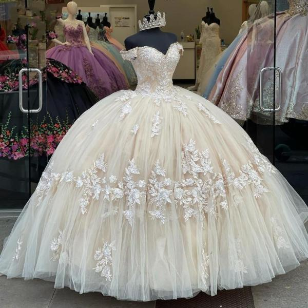 Long Champagne Lace Appliques Quinceanera Dress for 15 Year Ball Gowns Off The Shoulder Ball Gown Debutante Gowns Dresses