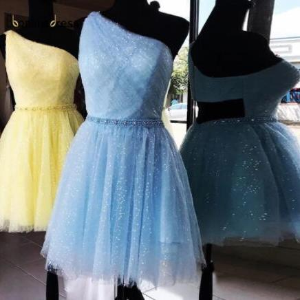 Shiny Sequins Blue Homecoming Dresses Sexy One Shoulder Short Girls Party Dress