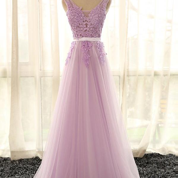 Elegant Lilac Lace Long Women Prom Party Dresses Sexy V Neck Formal Dress