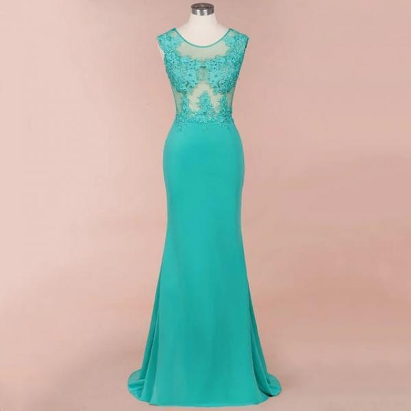 Sexy Sheer Aqua Lace Long Women Prom Dress Mermaid Formal Illusion Ladies Party Gowns Dresses