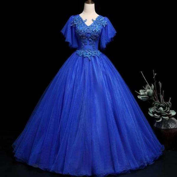 Blue Quinceanera Dress for 16 Year Birthday Long Party Dresses Sexy V Neck Beaded Appliques Top Lace-up Back Gown