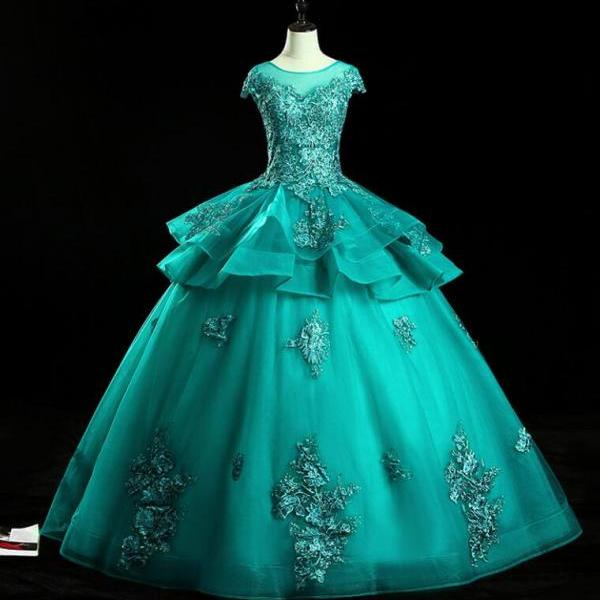 Vintage Turquoise Quinceanera Dresses Ball Gown Sexy Sheer Lace Appliques Formal Evening Party Dress Ruffles Tiered