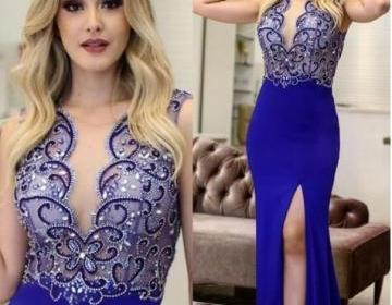 2019 Royal Blue Mermaid Prom Dresses long Elegant Evening Formal Dresses With Beaded Party Dress Sexy Split Side