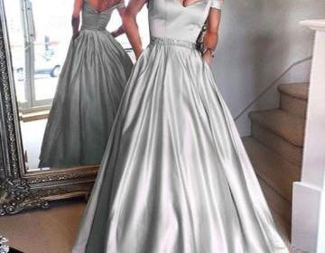 Formal Silver Prom Dress, Off The Shoulder Prom Dress with Short Sleeve, Long Elegant Evening Dress Floor Length , Sexy V Neck Prom Dress With waist Sash, Customize Prom Dress For Women
